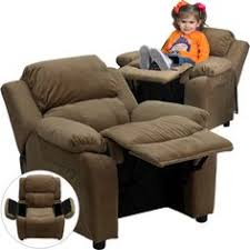 flash furniture deluxe heavily padded brown microfiber kids recliner with storage arms kids furnitureliving room