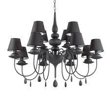 ideal lux black chandelier blanche 12 flames