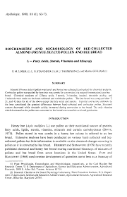 biochemistry and microbiology of bee collected almond prunus  article