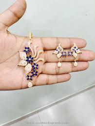 simple blue stone pendant sets