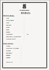 Resume Format For Marriage Free Download Biodata Format Download For New  Resume