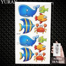 юран симпатичные флэш дети руки татуировки наклейки детские руки рыбы временные