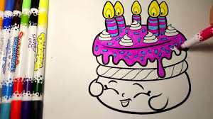 Shopkins Birthday Wishes Cake Coloring Shopkins Coloring Page