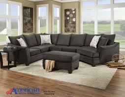 No Furniture Living Room Flannel Seal Grey 3 Piece Sectional Right Side Cuddler