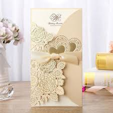 1pcs Gold White Red Laser Cut <b>Wedding Invitation Card Rose</b> Love ...