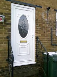 white pvc door with custom glazing