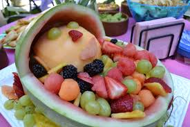 Cute Fruit Salad for Baby Shower - Great side dish to BabyQ BBQ baby shower  menu