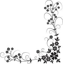 花のイラストフリー素材コーナーライン角 No128白黒茎葉