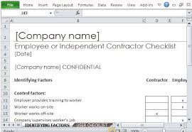Contractor Checklist Employee Or Independent Contractor Checklist For Excel