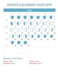 New Moon Phases For July 2019 Calendar Full Moon Calendar