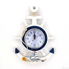 hdf distressed wood helm anchor wall clock quartz watch mediterranean style timepiece with starfish sea conch shell handicrafts decoration wooden wall clock