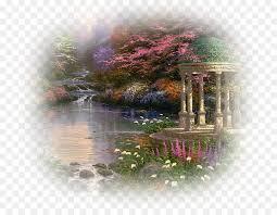 garden of prayer thomas kinkade painter of light painting flower reflection png