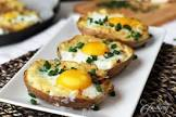 baked potatoes with cracked eggs