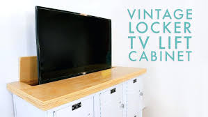 tv lift cabinet i was challenged by this s sponsor to find something vintage and to tv lift