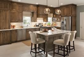 transitional kitchen with mahogany wood schuler cabinets gray linen