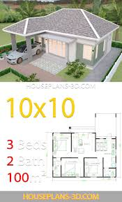 Interior House Design Plans 10x10 with 3 Bedrooms Full Plans - House Plans  3D in 2020 | House plans, House plan gallery, Unique small house plans