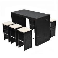 rattan wicker bar table stool dining set