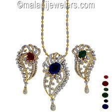 diamond changeable gemstone pendant set 18 karat gold