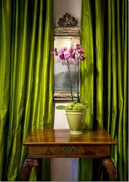 lime green magenta silk curtains in suzanne somer s palm springs