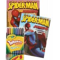 Peter parker, a child and a truck. Marvel Comics Spiderman Coloring Book Set With Crayola Twistable Crayons Educational Toys Planet