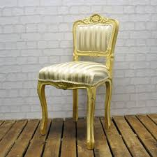 Ladies Bedroom Chair Minster Stylish Living Antique White Gold Frame Cream Stripe