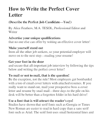 Resume Example How To Write The Perfect Cover Letter Resume Cover