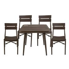 brown synthetic teak outdoor table with
