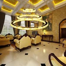 modern 3 ring circle ceiling chandelier led k9 crystal pendant light fixture