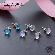 2019 <b>Joseph Mola 925 Sterling</b> Silver Clear Crystal Gemstone Stud ...