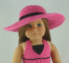 Wide Brimmed Sunhat Pdf Crochet Pattern For American Girl Dolls Instant Download Includes Chart W Symbols Written Pattern