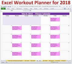 workout calendar 2018 2019 excel fitness weight loss tracker