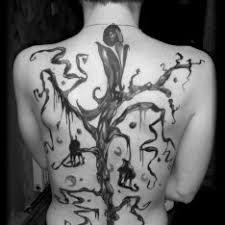 Black And White Jednobarevné Záda Tetování Tattoo