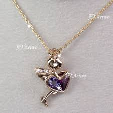 9k gf 9ct rose gold made with swarovski crystal angel heart pendant necklace