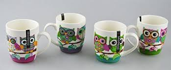 office cups. New Bone China Mugs Set Of 4 Owl Design Tea Coffee Home Kitchen Office Cups