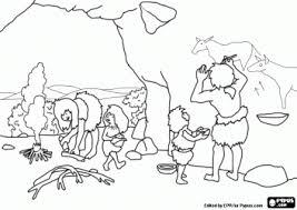 Een Prehistorische Gezin In De Grot De Vrouw Bereidt Het Vuur De