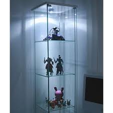 ikea detolf glass curio display cabinet white light is included in