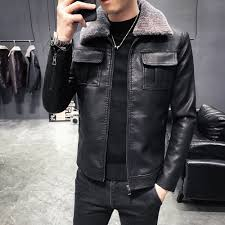 fashion 2018 winter men jacket brand new quality faux leather jackets men turn down collar long sleeve windbreaker coat man 3xl clothing