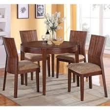 5 pc mauro contemporary country kitchen style collection dark brown finish wood 4 leg round dining table set with fabric upholstered chairs