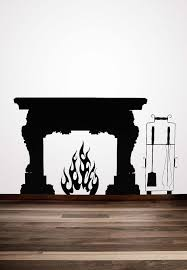 fireplace mantel vinyl decal fireplace mantle fireplace mantel decor flames mid century