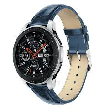 22mm crocodile texture genuine leather watch strap for samsung galaxy watch 46mm blue 1