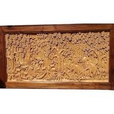 carved teak wood wall sculpture panel