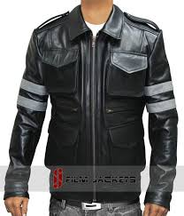 grey stripe leather jacket