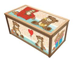 teddy wooden toy box chest box toy storage apa box