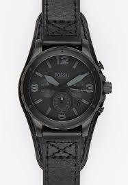 fossil watches nate leather watch black