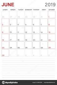 English Calendar 2019 Monthly Planner Calendar June 2019