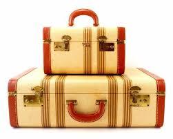 vintage luggage. sold vintage striped tweed suitcase set by travel joy (c.1940s) - thirdshift luggage