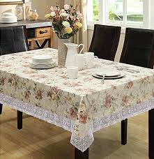 eforcurtain home fashion round table cover waterproof spring fl tablecloth flannel back pvc beige 54 inch round tablecloth with lace edges