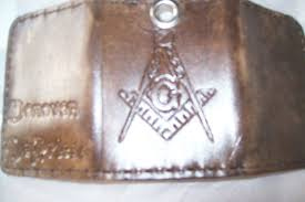 custom made custom leather imperial trifold with biker chain masonic symbol and personalization