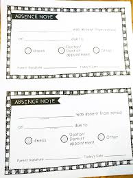 Doctors Note For School Absence Free Free Printable Absence Notes For The Elementary Classroom