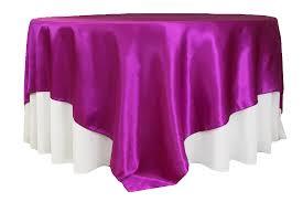 square 90 x90 satin table overlay magenta violet